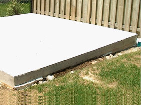 Poured concrete pad