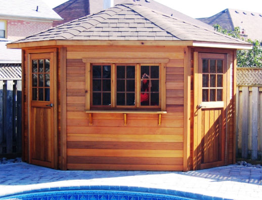 Cabana was upgraded to clear cedar. In standard v-joint cedar $5,698