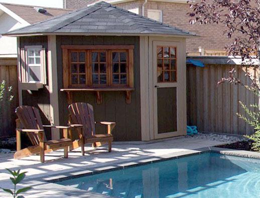5 sided cabana duroshed for Garden pool sheds